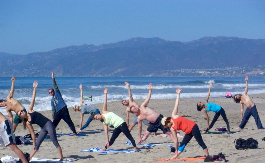 Beach yoga with Brad, Santa Monica