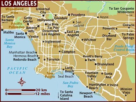 Mapa Los Angeles. Żródło: lonelyplanet