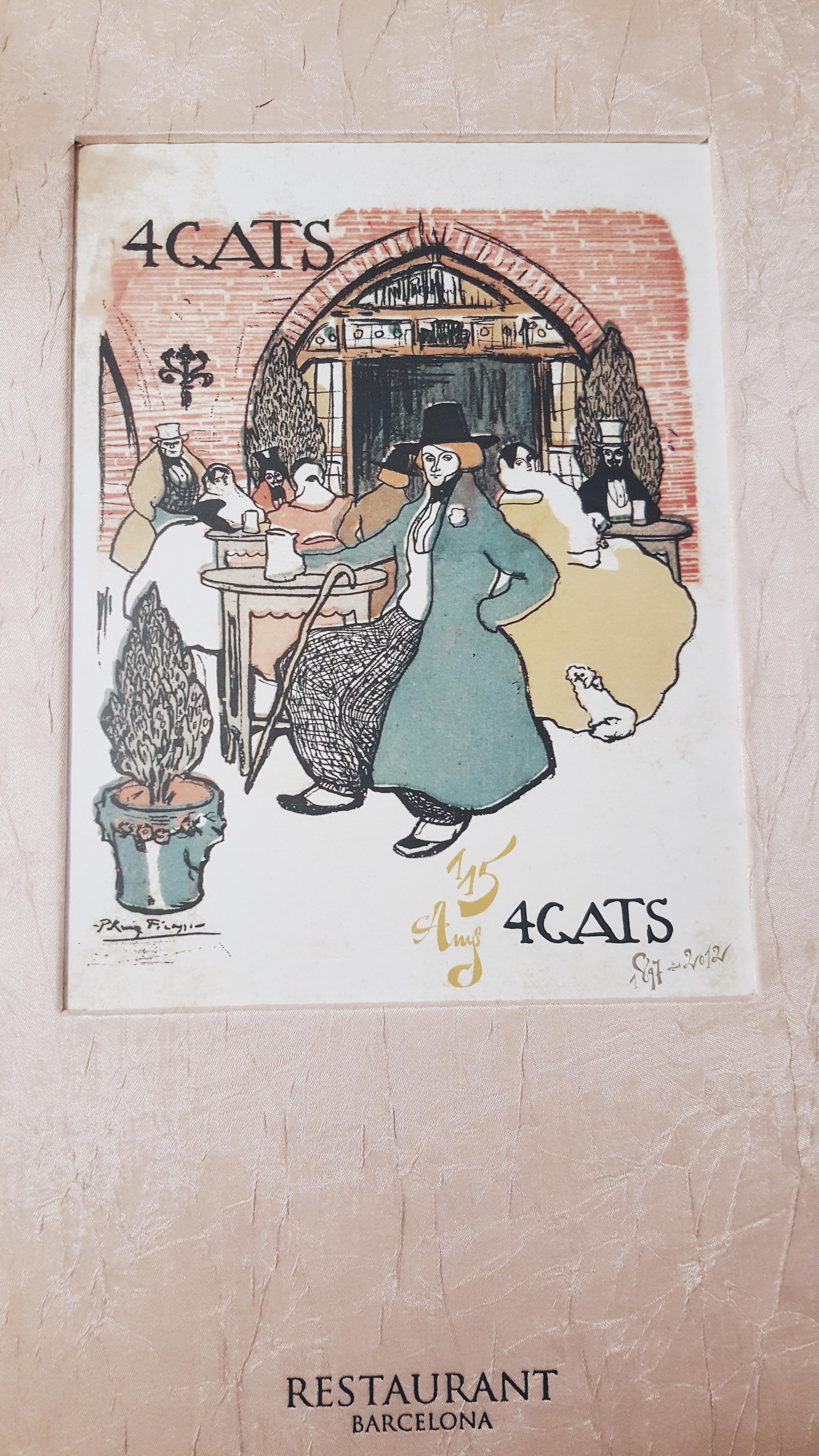 """Menu w restauracji """"Els 4 Gats"""" w Barcelonie."""