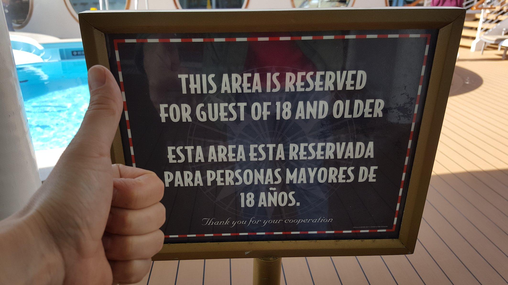 Strefa dla dorosłych na statku Disney Dream