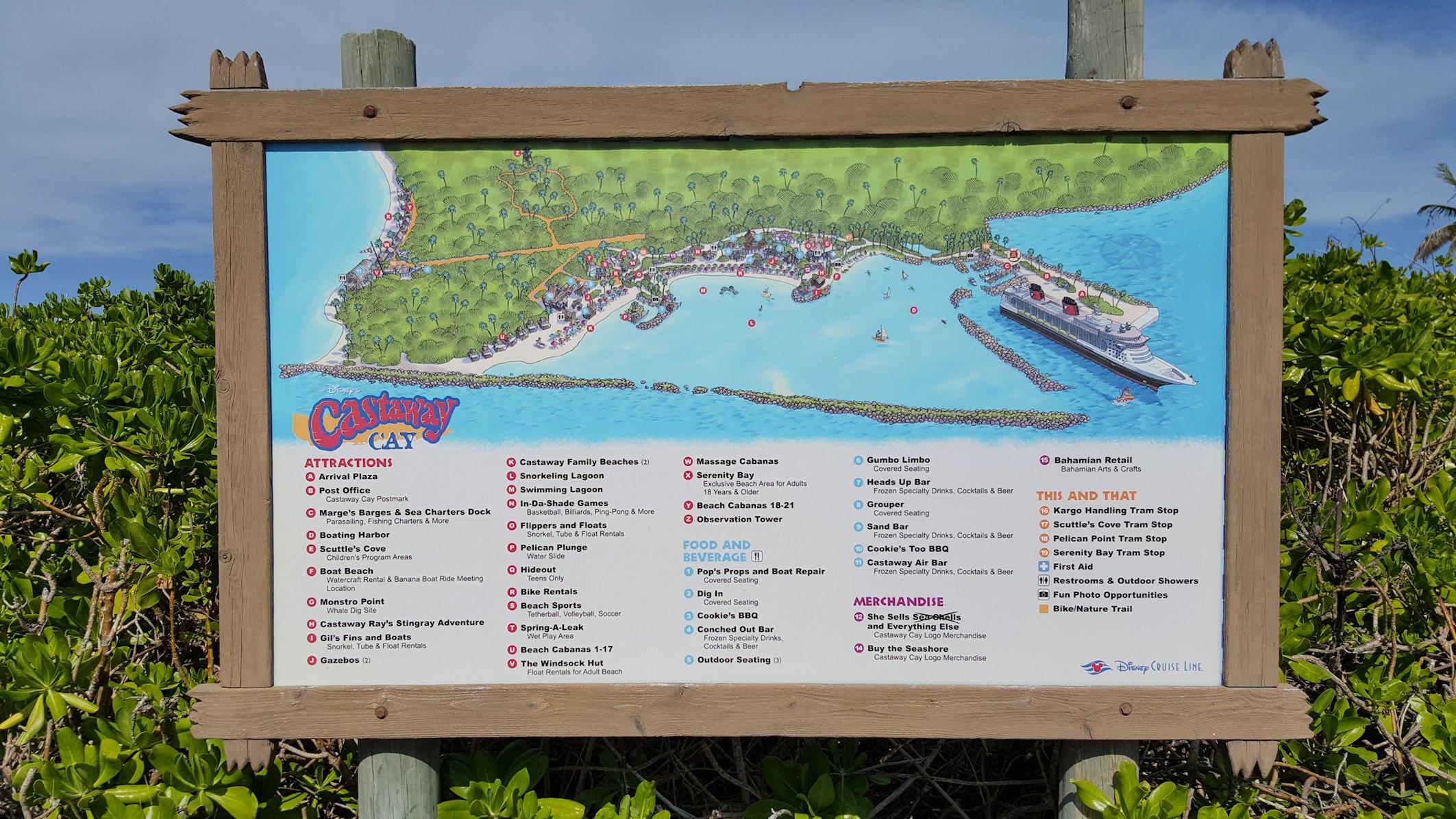 Mapa Castaway Cay, Bahamy